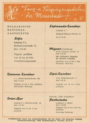 Rückseite der Leipziger Theaternachrichten, 1960er Jahre