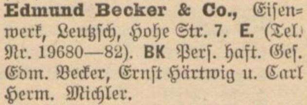 1918 im Adressbuch: Becker und Michler