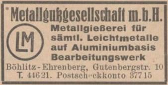 1941 im Adressbuch: Metallgußgesellschaft (MEGU)