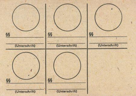 Stempelkarte aus den 1980er Jahren (hinten)