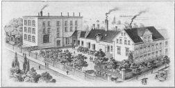 Die Essigfabrik 1925 (die Straßenbahn fährt in der Halleschen Straße)