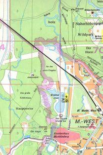Unterstellpilze auf einem Stadtplan von 1983