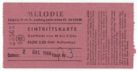 Eintrittskarte vom 2. Oktober 1966