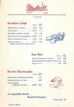 Speisekarte der Tanzbar Melodie, 1960