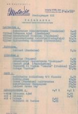 Weinkarte der Tanzbar Melodie, 1960