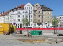 Huygensplatz, Nordseite, im April 2016