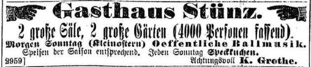 Gasthaus Stünz, Anzeige in der LVZ, 1895