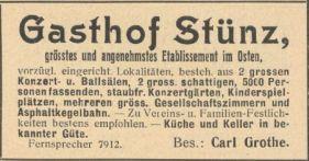 Gasthof Stünz, Anzeige im Adressbuch, 1919