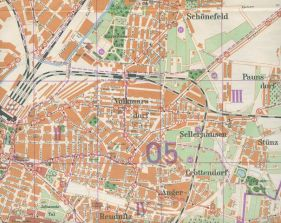 Stadtplan von 1954 mit Reinhartstraße