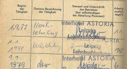 Jens' SV-Ausweis mit Astoria-Stempel