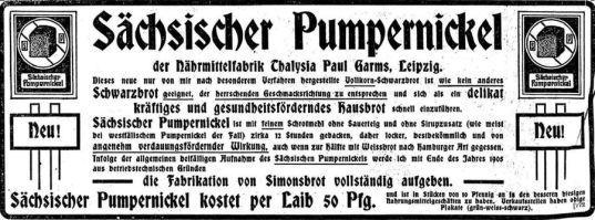 Thalysia-Werbung von 1905 in der LVZ