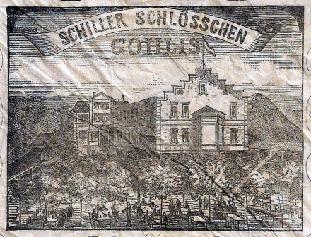 Das Schiller-Schlösschen auf der 1884er Serviette (Quelle: Rainer Guthknecht)