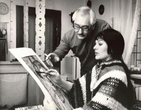 Helmut Schreiber mit seiner Frau im Haus in Gohlis (Foto: Archiv J.R.)