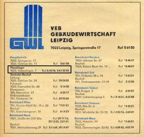 Aus dem Branchenfernsprechbuch für den Bezirk Leipzig von 1978