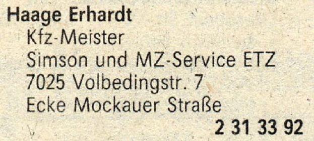 Aus dem Branchenfernsprechbuch für den Bezirk Leipzig von 1988