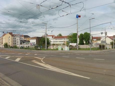 Blick auf das Dreieck Mockauer / Volbedingstraße