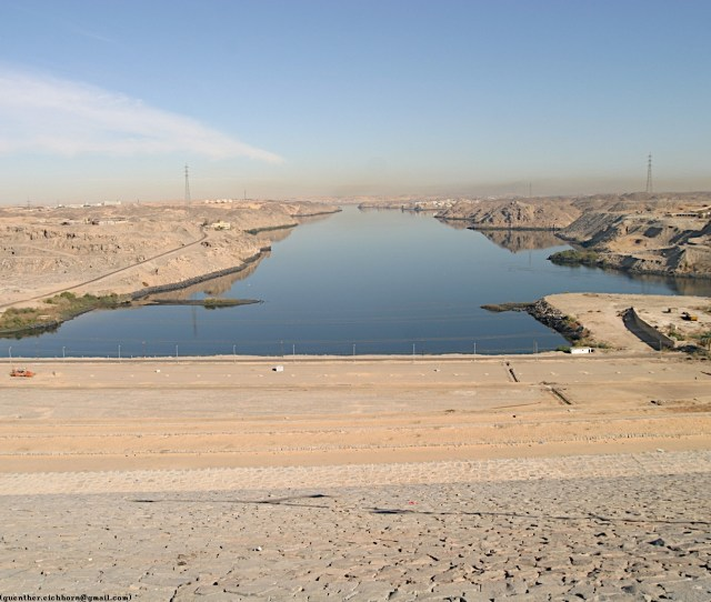 View From The Aswan High Dam Towards The Reservoir Behind The Aswan Low Dam You Can See The Very Shallow Slope Of The High Dam 449k