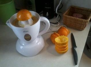 Juicing the oranges..