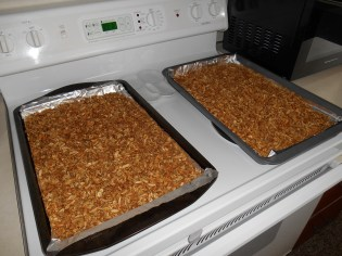 Two pans of granola goodness!!