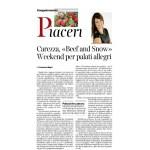 """23-01-2016 Corriere del Trentino e dell'Alto Adige Carezza """"Beef and snow"""" weekend per palati allegri"""