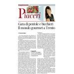 26-09-2015 Corriere del Trentino-Corriere Alto Adige Gara cli pentole e bicchieri Il mondo gourmet a Trento