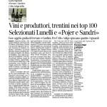 """29-03-2017 Corriere del Trentino e dell'Alto Adige Vini e produttori, trentini nei top 100 Selezionati Lunelli e """"Pojer e Sandri"""""""