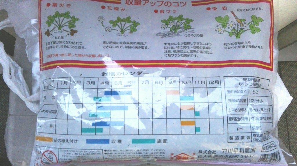 刀川平和農園いちごの土パッケージ裏