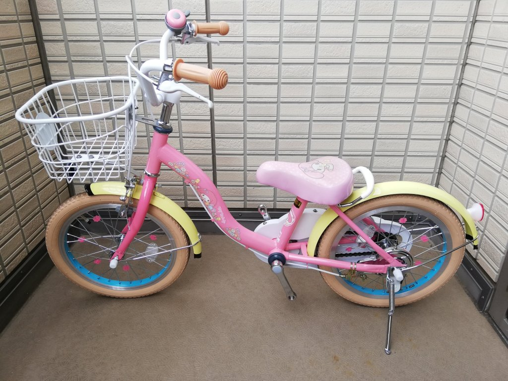 マイメロ自転車の補助輪とペダル取り外し完了