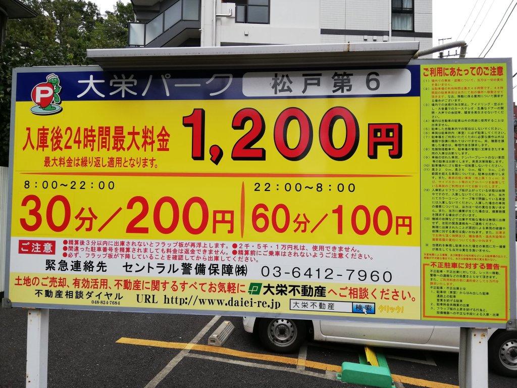 松戸駅周辺の駐車場の看板