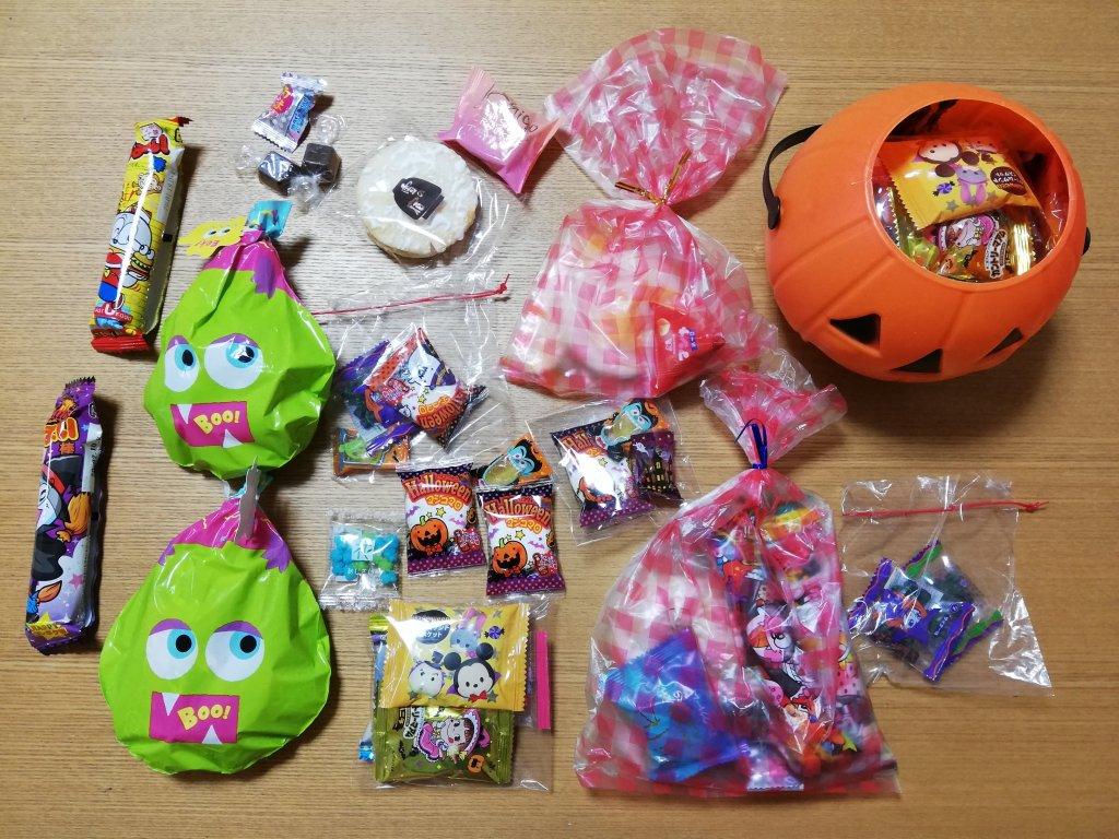 江戸川区下篠崎の新町商店街のハロウィンでもらったお菓子