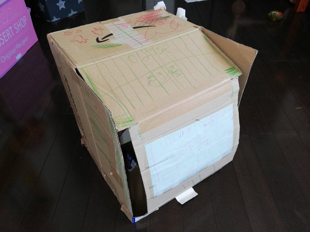 段ボール箱で作った食洗機