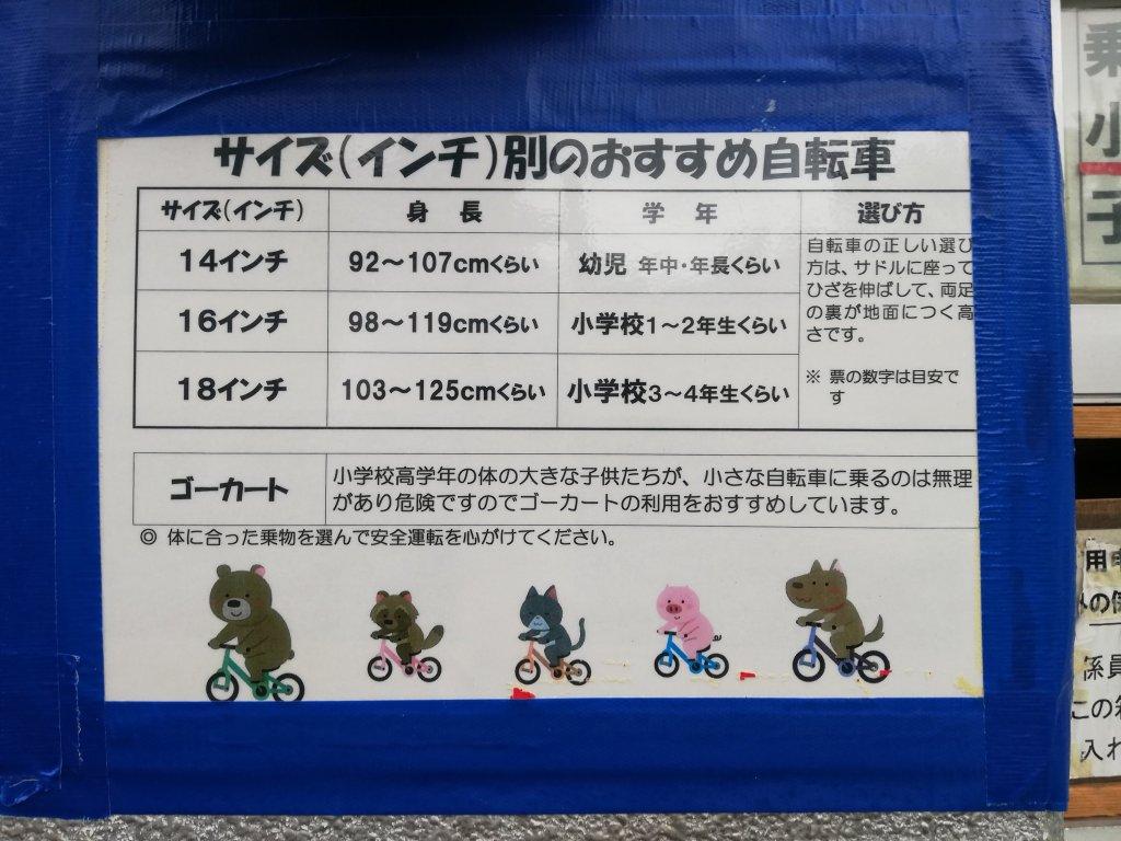 北沼公園の自転車貸し出し
