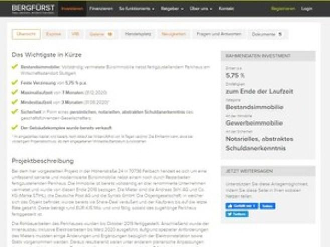 Die Immobilienbeschreibung von Bergfürst