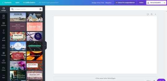 Ein Screenshot von Canva.com