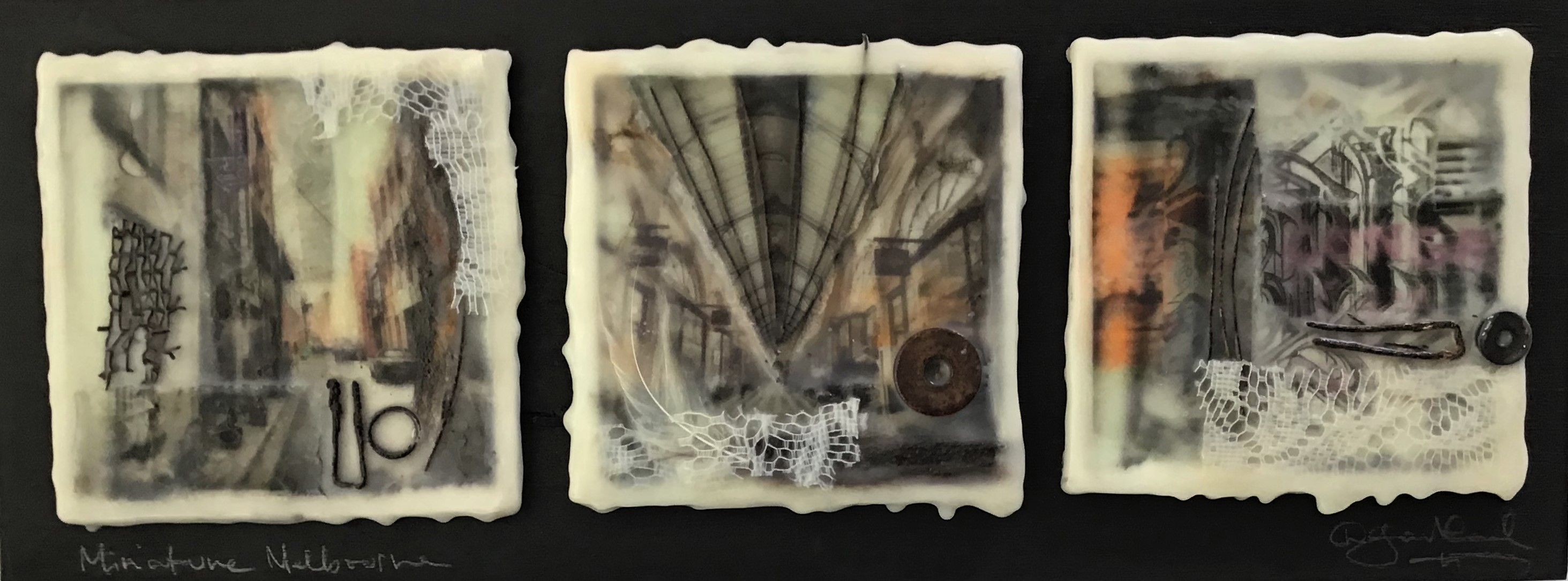 Miniature Melbourne Triptych - Photo Encaustic and Mixed Media