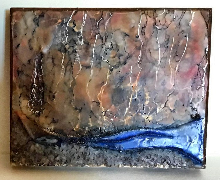 Acid Rain - Encaustic Painting with Mixed Media Components