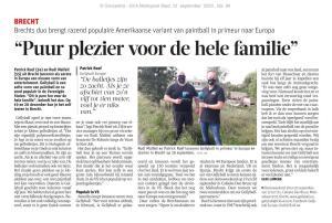 Gazet Van Antwerpen GvA artikel krant Gellyball Brecht Patrick Roef Rudi Malfait