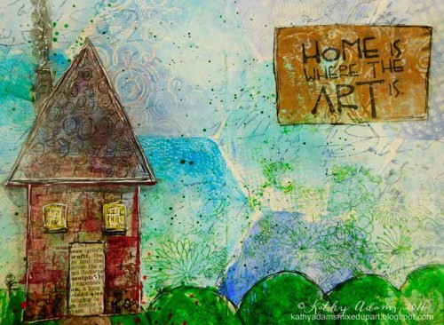 Gel Press home Art Journal page by Kathy Adams