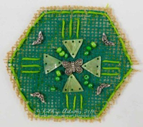 Gel Press Hexagon burlap embellishment by Kathy Adams