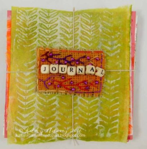 Gel Press on burlap by Kathy Adams