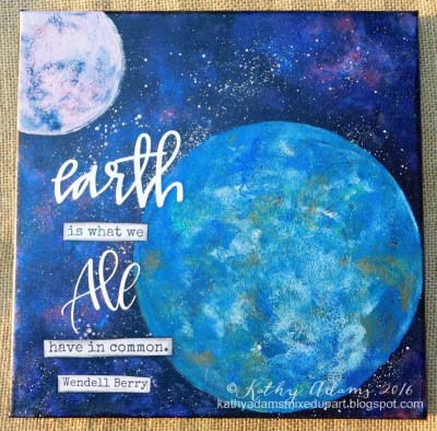"""Earth Day Canvas made using 8"""" and 4"""" Round Gel Press Plates"""