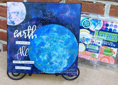 Earth Day Canvas created using Round Gel Press Plate.