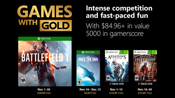 Xbox Live Gold free games for November 2018