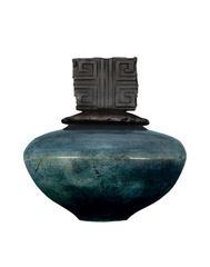 R 12 Bluebell Raku Pot - R-12 Blue Bell