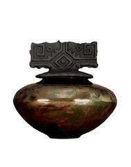 R 18 Lustrous Copper Raku Pot - R-18 Lustrous Copper