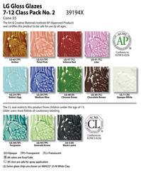 gloss chart class pack no2 39194x 2048px - Class Pack (7-12): (LG) Low Fire Gloss No. 2