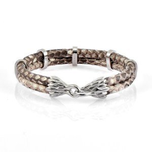 Natural Python Leather With Silver Finishing