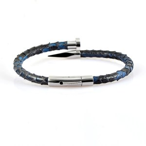Blue Python Leather Silver Nail Bracelet With Silver Finishing
