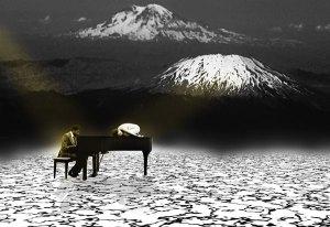 Image of Light Painting Harmonizing with Mt. Hood