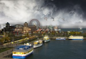 Image of Light Painting Navy Pier